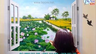 vẽ tranh tường 3d phong cảnh làng quê, trong khung cửa có đầm sen/Đào tạo họa sĩ, xem link bên dưới