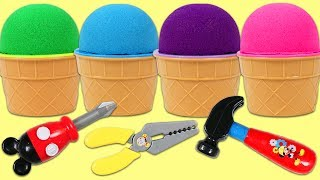 KINETIC SAND Ice Cream Cup Surprise Toys Opening with Mickey Mouse Tools Hammer and Drill!