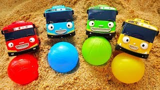 Learn Color Tayo the Little Bus Sand Play Surprise Toys Fun Video for Children