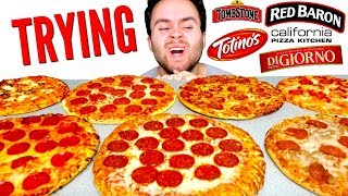 TRYING EVERY FROZEN PIZZA! Which Is The Best? - Digiorno, Totino's, & MORE Taste Test!