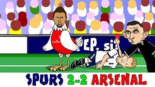 TOTTENHAM vs ARSENAL 2-2 (North London Derby Cartoon Highlights Goals Kane Coquelin Red Card)