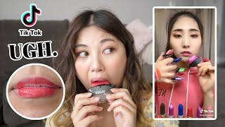 trying *VIRAL* TIKTOK lipstick FAIL!!! (she really did the most..)