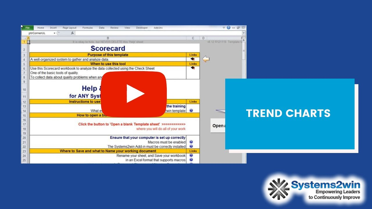 Scorecard Excel Template Youtube