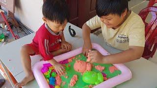 Tin và anh Hai chơi cát động lực - Đồ chơi cát động lực cho trẻ em