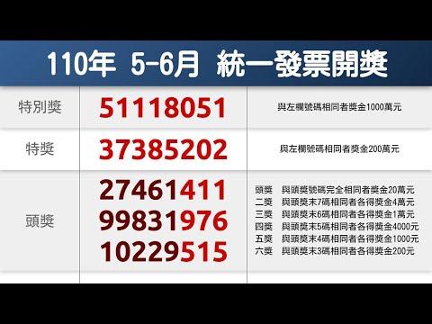 統一發票110年5-6月中獎號碼