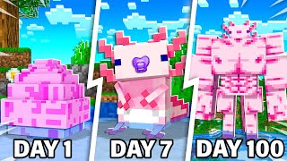 I Survived 100 Days as a Baby AXOLOTL in Minecraft!