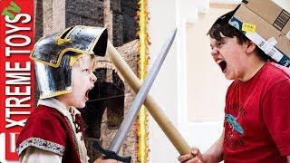 A Medieval Good Time! Sneak Attack Squad Cardboard Box Castle Battle!
