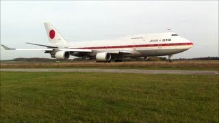 Japanese Air Force One Boeing B747-47C Air Force Japan in ELLX Luxembourg [Full HD]