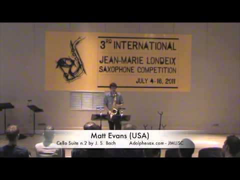 3rd JMLISC: Matt Evans (USA) Cello Suite n.2 by J.S. Bach