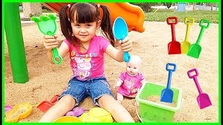Learn Colors With Beach Sand Toys for Kids Nursery Rhymes Song Funny Kid Pretend Play with Baby Doll