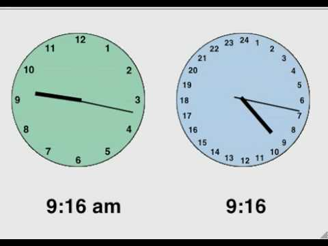 Time On Two Analog Clocks Am Pm Vs 24 Hour Youtube