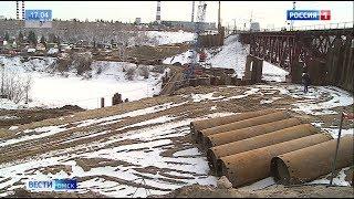 В Омске строительство железнодорожного моста через реку Омь вошло в активную стадию