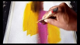How to create Colorful Easy Abstract painting in Acrylics / Demonstration
