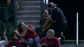 LAD@ARI: Fans fight for foul but cooler heads prevail