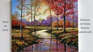 Autumn Forest STEP by STEP Acrylic Painting (ColorByFeliks)