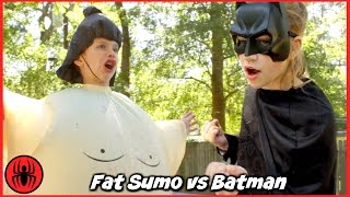 Fat Sumo vs Batman Giant Sumo Battle in real life SuperHero Kids