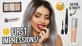 FULL FACE OF DRUGSTORE FIRST IMPRESSIONS - TESTING NEW MAKEUP!