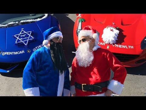 Santa's Red FERRARI vs. Harry Hanukkah's Blue LAMBORGHINI