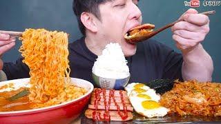 항아리돼지고기김치찌개와 김치제육볶음 스팸 계란후라이가 만났다!! 밥도둑주의 리얼사운드 먹방 REAL SOUND MUKBANG SOCIAL EATING