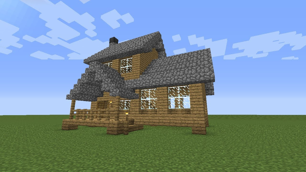 Minecraft: How To Build A Wooden House -- Medium Size