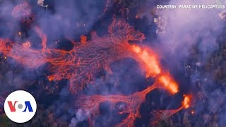Aerial Video of Homes Hit by Lava from Volcano in Hawaii