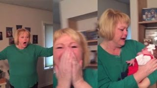 Grandma's adorable reaction to meeting new granddaughter