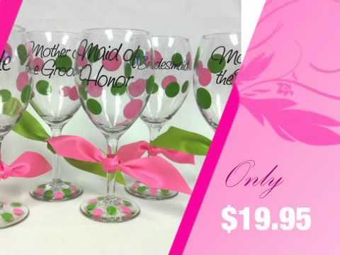 Personalized Polka Dot Wine Glasses for the Bridal Party - AdvantageBridal.com