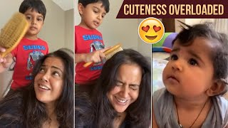 Actress Sameera Reddy making hilarious fun with her kids..