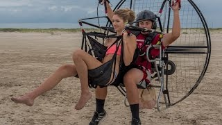 Paramotor Tandem For Kisses!!! Powered Paragliding Hottest Girls With 16 Year Old SUPER Trevor!!
