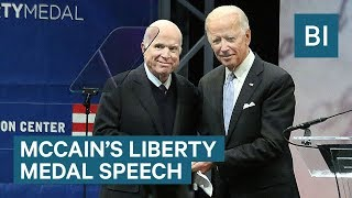 John McCain warns against the rise of nationalism after being awarded the Liberty Medal
