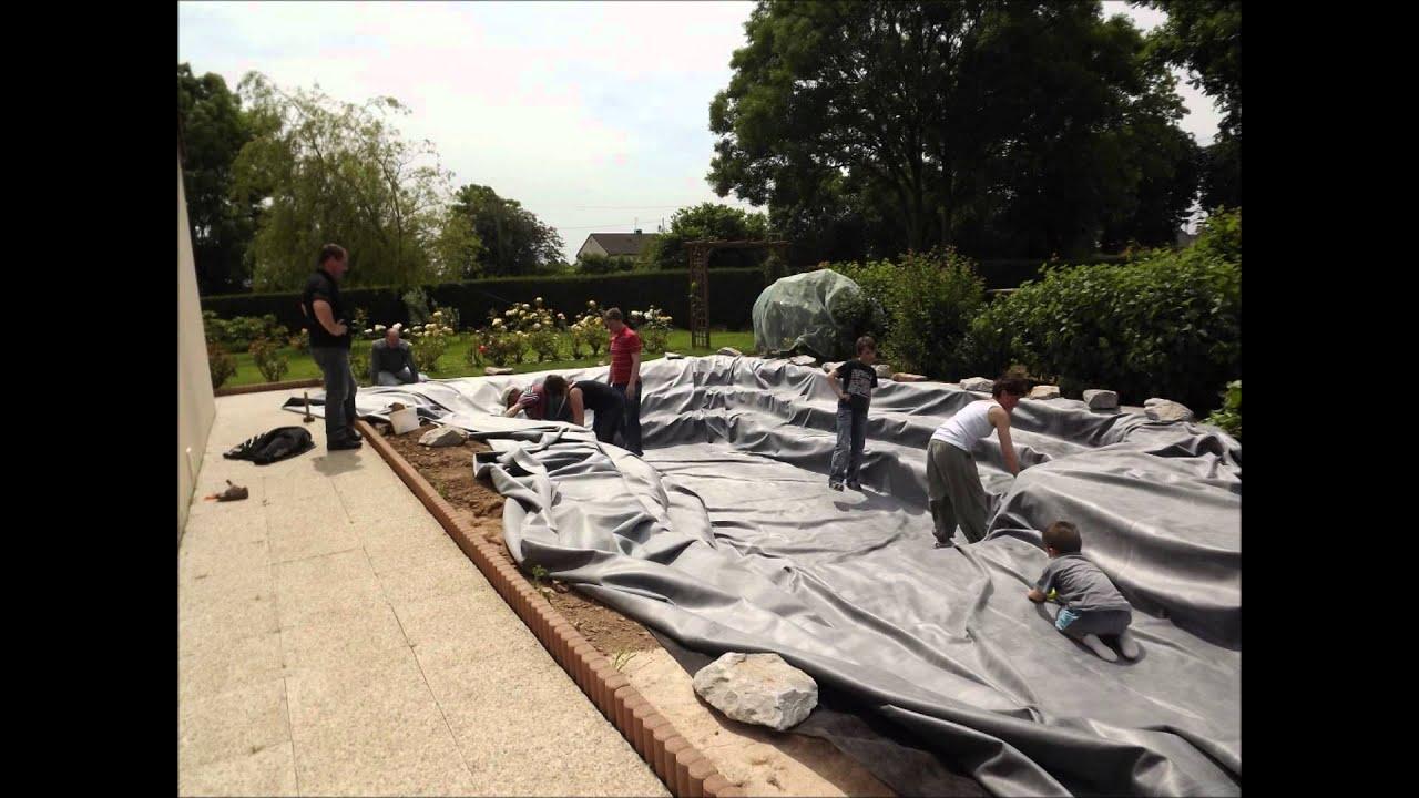construction bassin de jardin avec cascade youtube. Black Bedroom Furniture Sets. Home Design Ideas