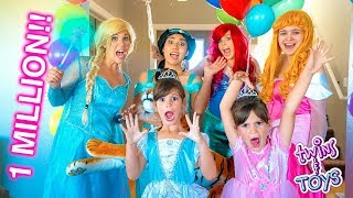 1 MILLION SUBSCRIBERS Princess PARTY with Frozen Elsa, Jasmine, Ariel and Aurora!