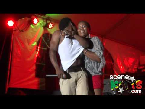 Christopher Martin on stage in St. Kitts with fan 'Dora the Explorer' ;)