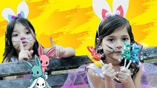 learn colors with song of rhymes, funny video for children, lollipops of bunnies