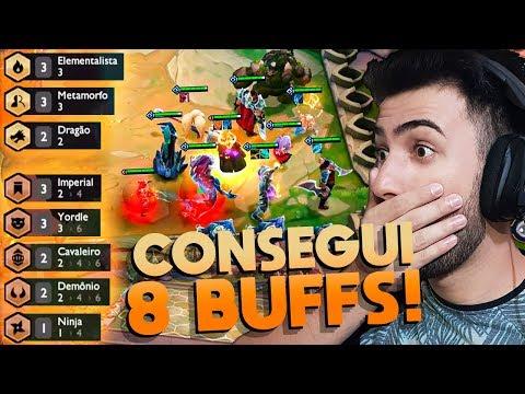 CONSEGUI 8 BUFFS! *10 CAMPEÕES + 1 GOLEM* - League of Legends (TeamFight Tactics)