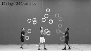 Breaking all trio juggling world records - rings & clubs passing
