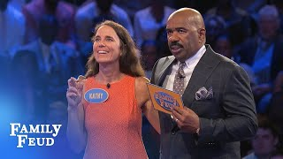 Kathy needs 73 points for $20,000!   Family Feud