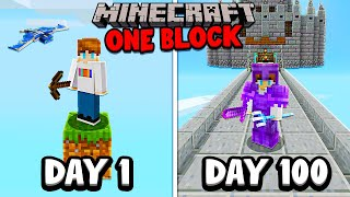 I Survived 100 Days on ONE BLOCK in Minecraft...