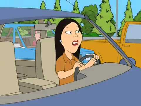 Asian lady driving are