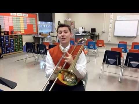 Trombone notes G, A, and high B flat