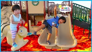 The Floor is Lava Kids Pretend Play at the Playground with Ryan's Family Review!!