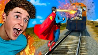 Can SUPERHEROES Stop The TRAIN In GTA 5..? (Mods)