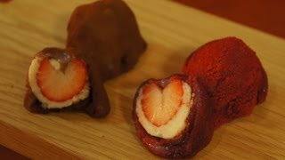 Heart-Shaped Strawberry & Chocolate Mochi