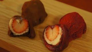 Heart-Shaped Strawberry & Chocolate Mochi