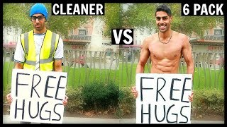 CLEANER vs 6 PACK Getting Free Hugs (SOCIAL EXPERIMENT)