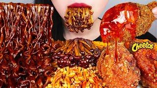 ASMR MUKBANG 치토스 치킨, 짜왕, 마라팽이버섯 먹방 CHEETOS CHICKEN, BLACK BEAN NOODLES, ENOKI MUSHROOM EATING SOUND