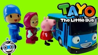 TAYO the little bus picks up Pocoyo, Peppa Pig, Masha and the Superheroes