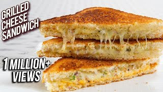 Grilled Cheese Sandwich Recipe - Perfect Grilled Cheese Sandwich On A Pan - Snack Recipe - Ruchi