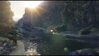 🎧 1-hr of Country Music by a Flowing River   PC 4k@60fps 🎶