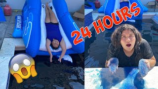 24 Hours Overnight in a Slime Hot Tub - OMG Living in Hot Slime * Extreme * Slime Challenge